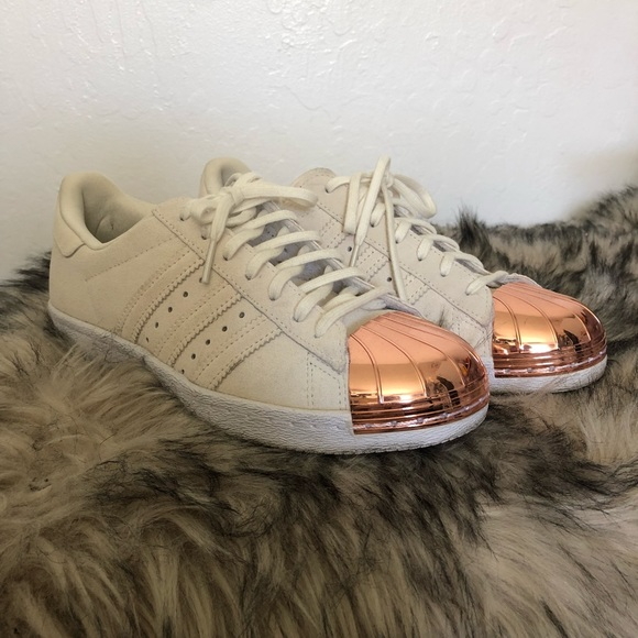 adidas superstar metal toe beige rose gold suede